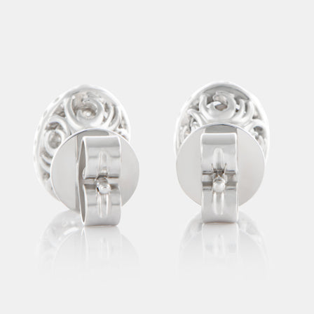 Oval Cut Diamond Earrings with 18K White Gold and Halo