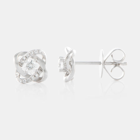 Diamond Cluster Knot Earrings with 18K White Gold