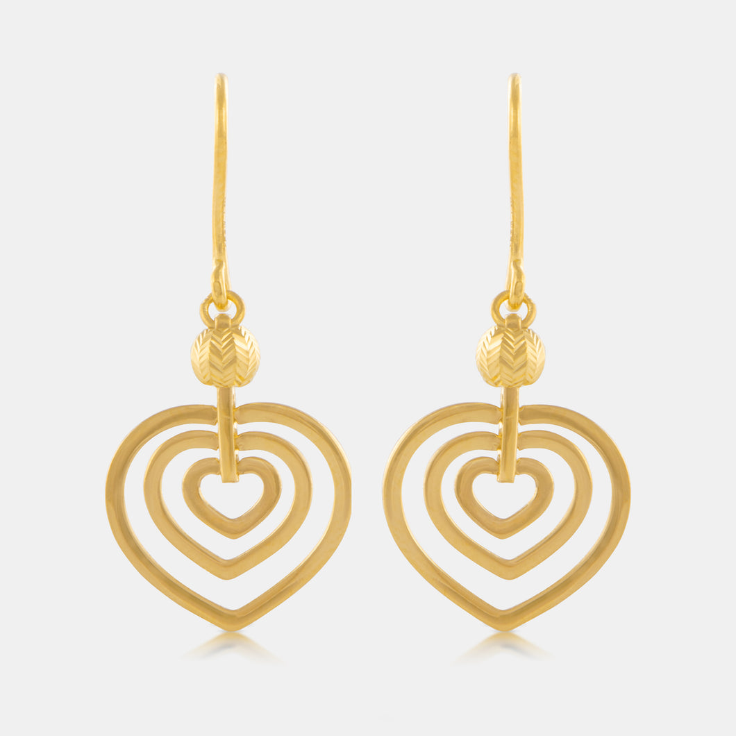 24K Gold Heart Art Deco Earrings