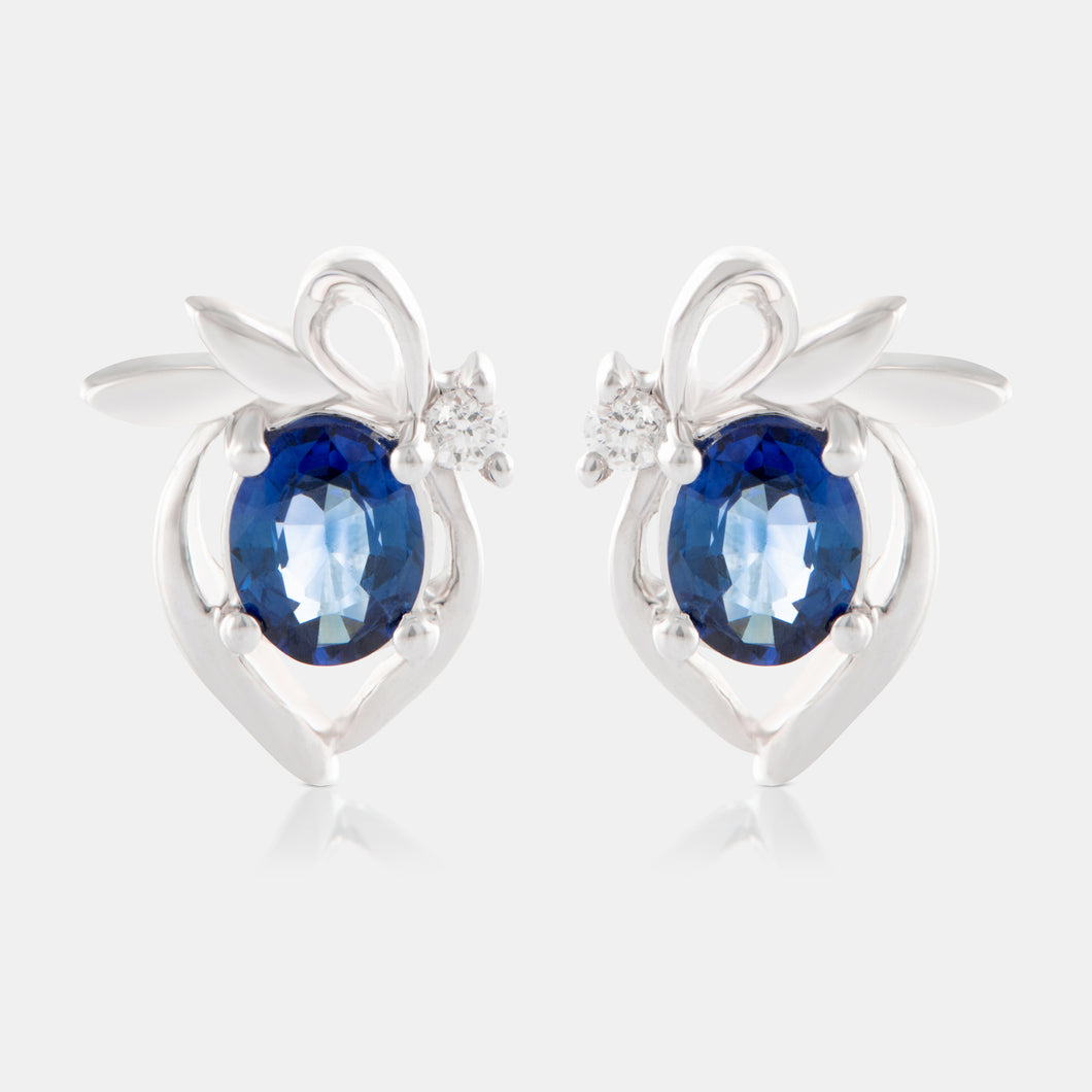 0.62ct Oval Sapphire Studs with 18K White Gold and Diamonds
