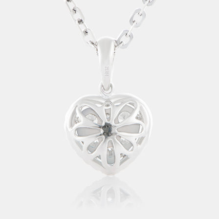 Diamond Cluster Heart Shaped Pendant with 18K White Gold and Halo