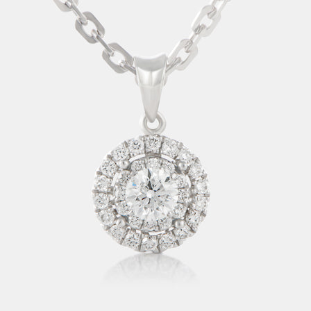 Round Brilliant Diamond Pendant with 18K White Gold and Halo
