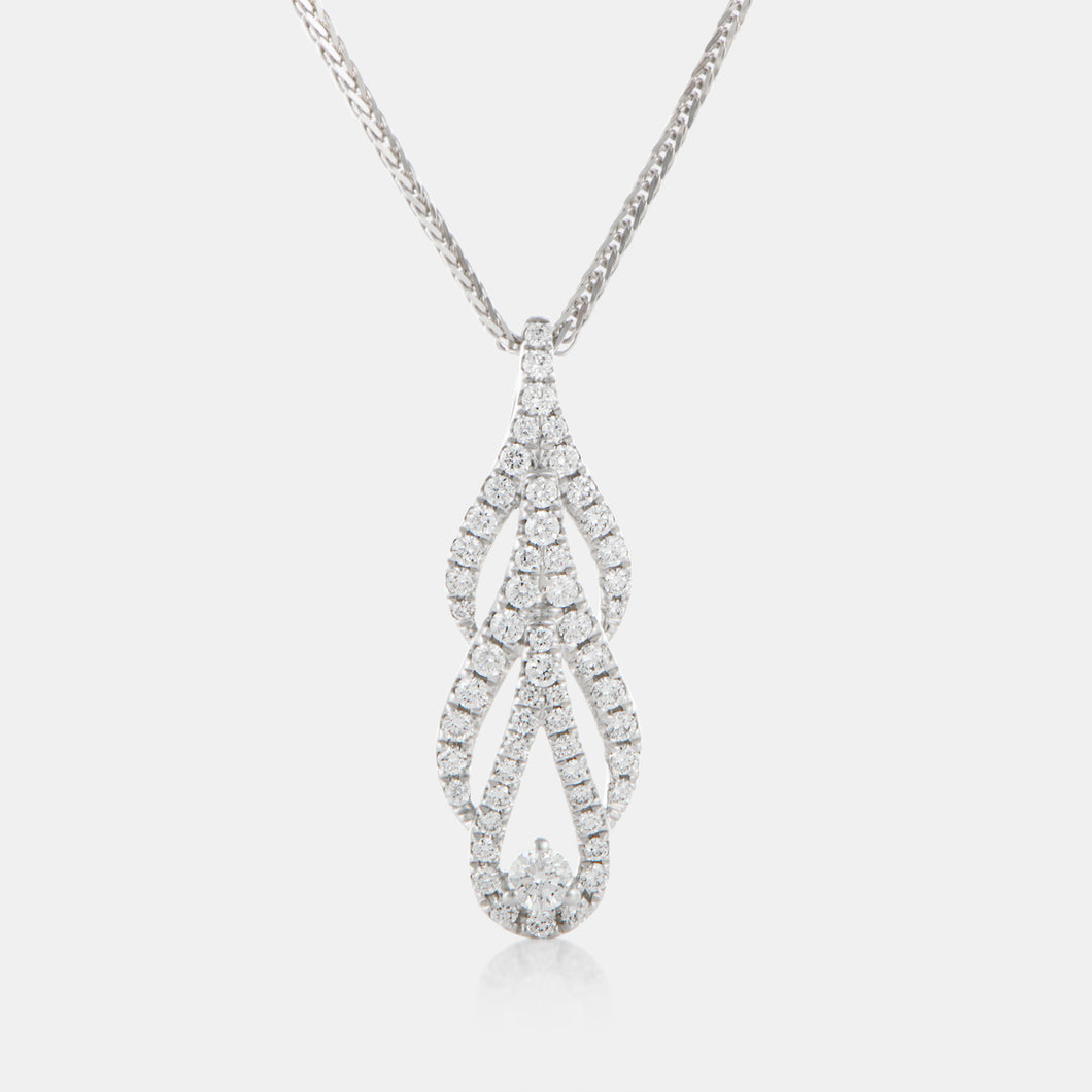 Diamond Phoenix Tail Pendant with 18K White Gold