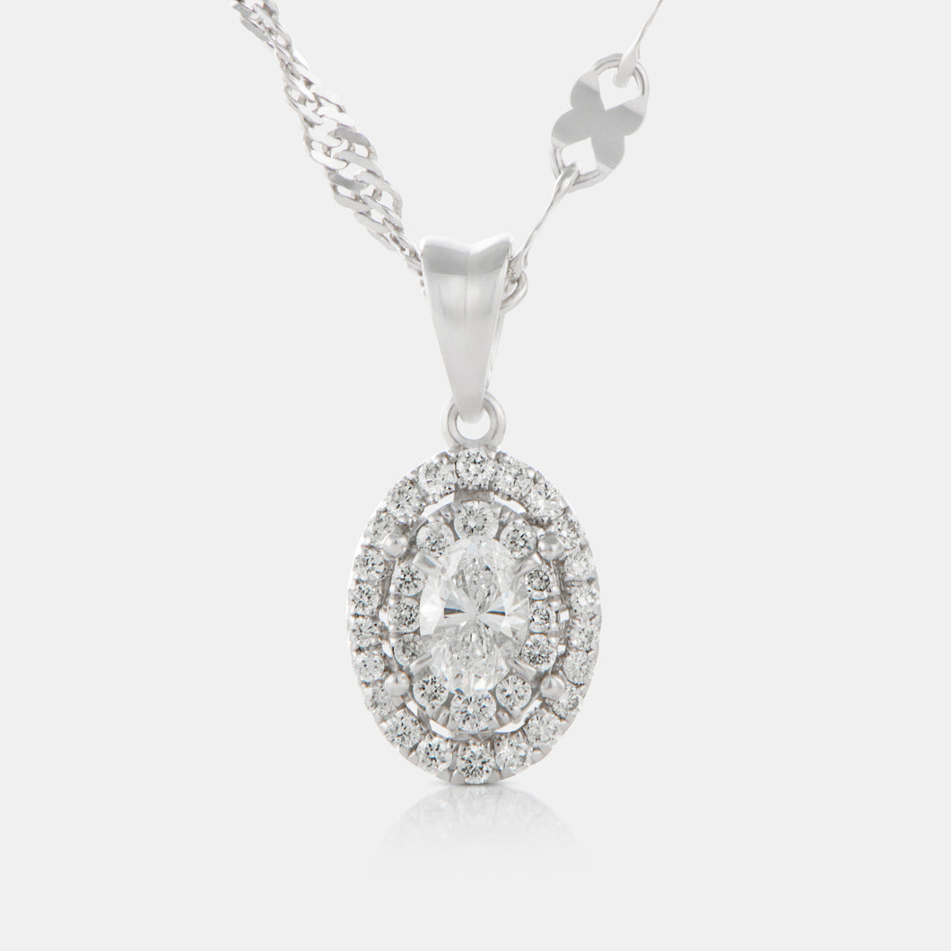Oval Cut Diamond Halo Pendant with 18K White Gold