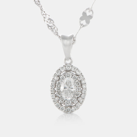 Oval Cut Diamond Pendant with 18K White Gold and Halo