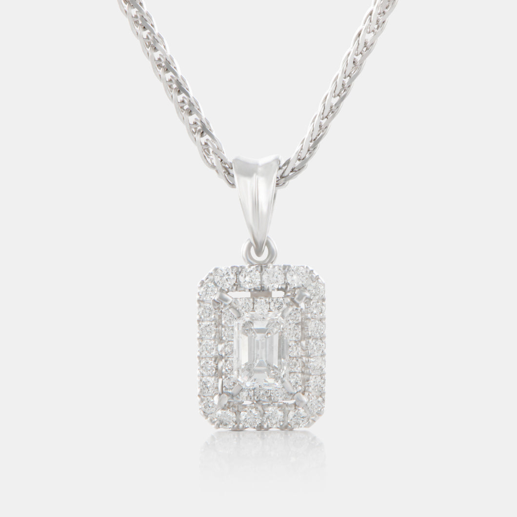 Emerald Cut Diamond Pendant with 18K White Gold and Halo