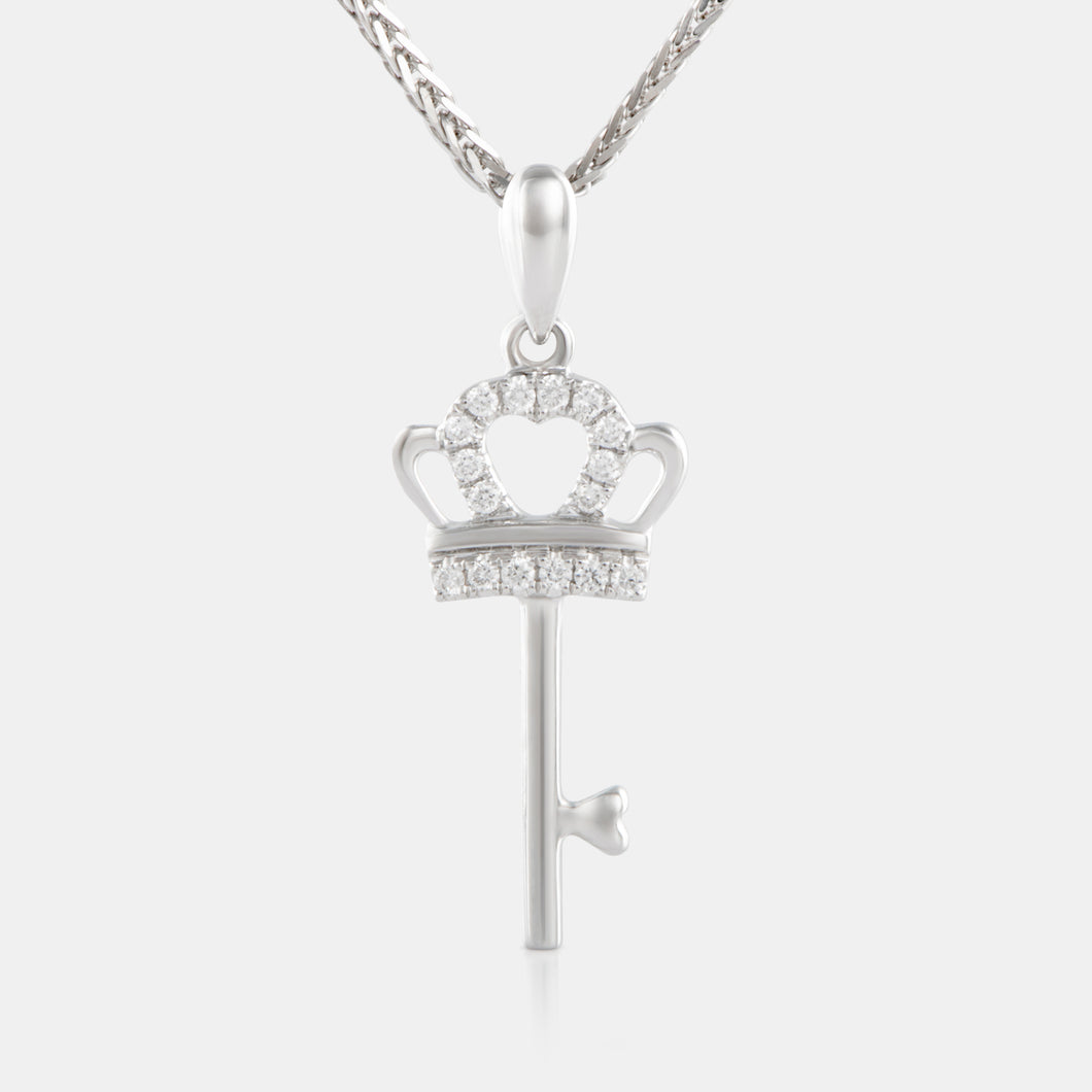 Diamond Mini Crown Key with18K White Gold