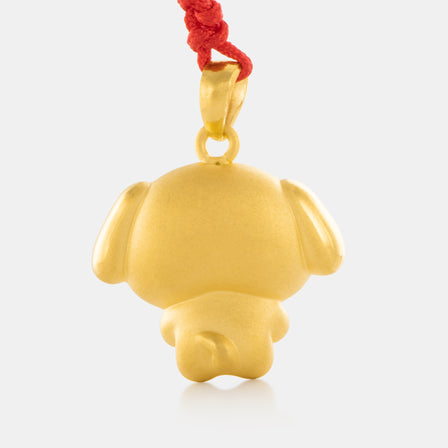 24K Gold Zodiac Dog Pendant