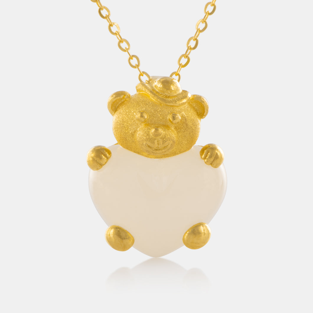 Nephrite Teddy Bear Pendant with 24K Gold