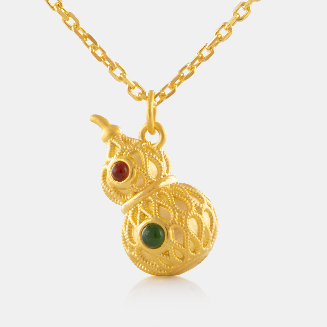 Nephrite Hulu Pendant with 24K Gold