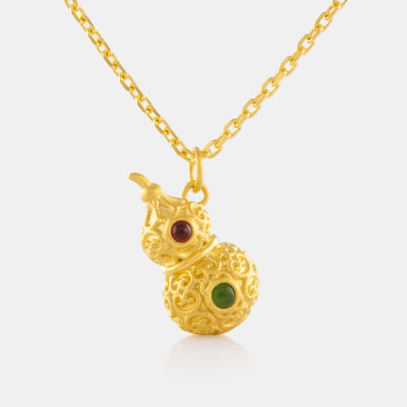 Small Nephrite Hulu Pendant with 24K Gold