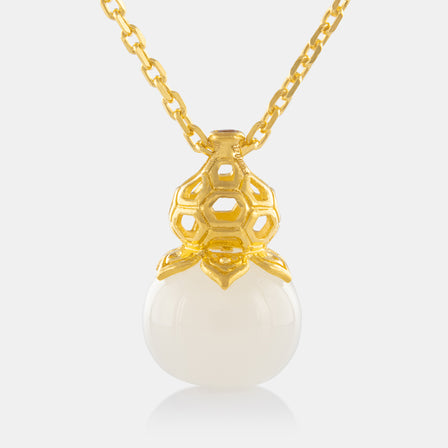 Nephrite Fancy Hulu Pendant with 24K Gold
