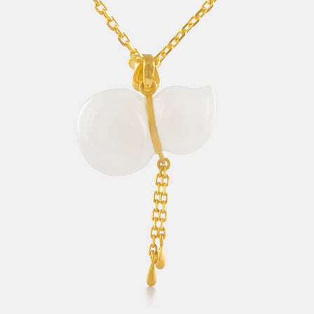 Nephrite Hulu and Tassel Pendant with 24K Gold