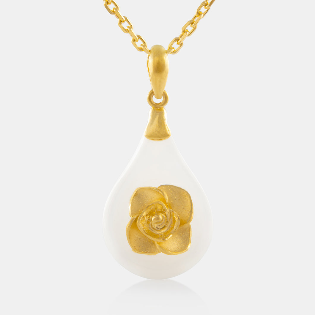 Nephrite Floral Pear Shaped Pendant with 24K Gold