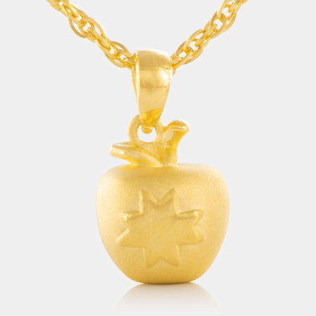 24K Gold Apple Pendant