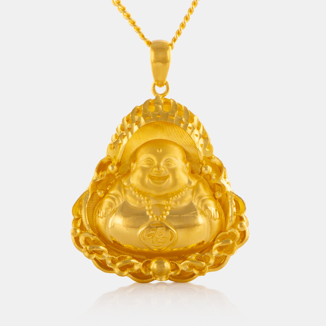 24K Gold Large Laughing Buddha Pendant