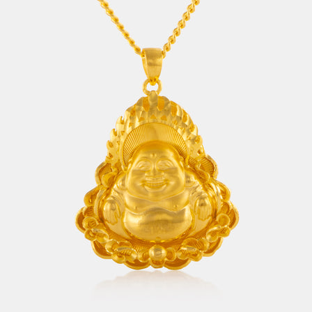 24K Gold Medium Laughing Buddha Pendant