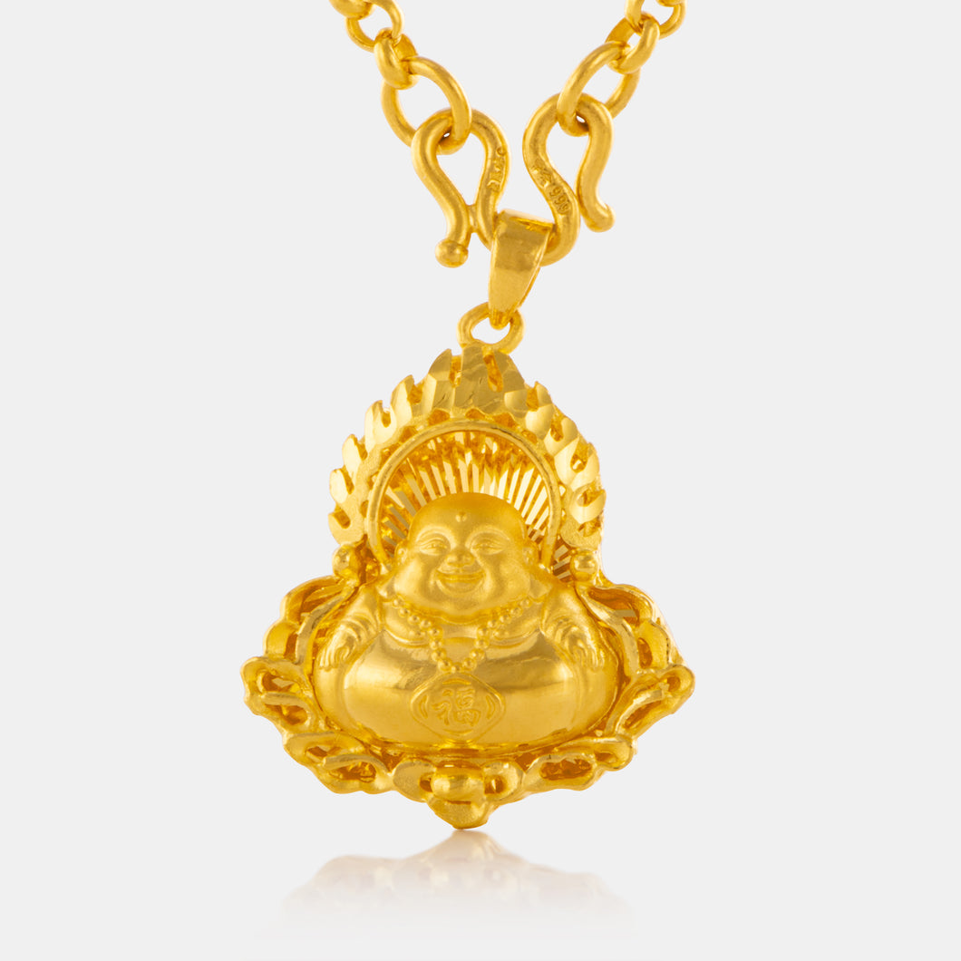 24K Gold Small Laughing Buddha Blessing Pendant