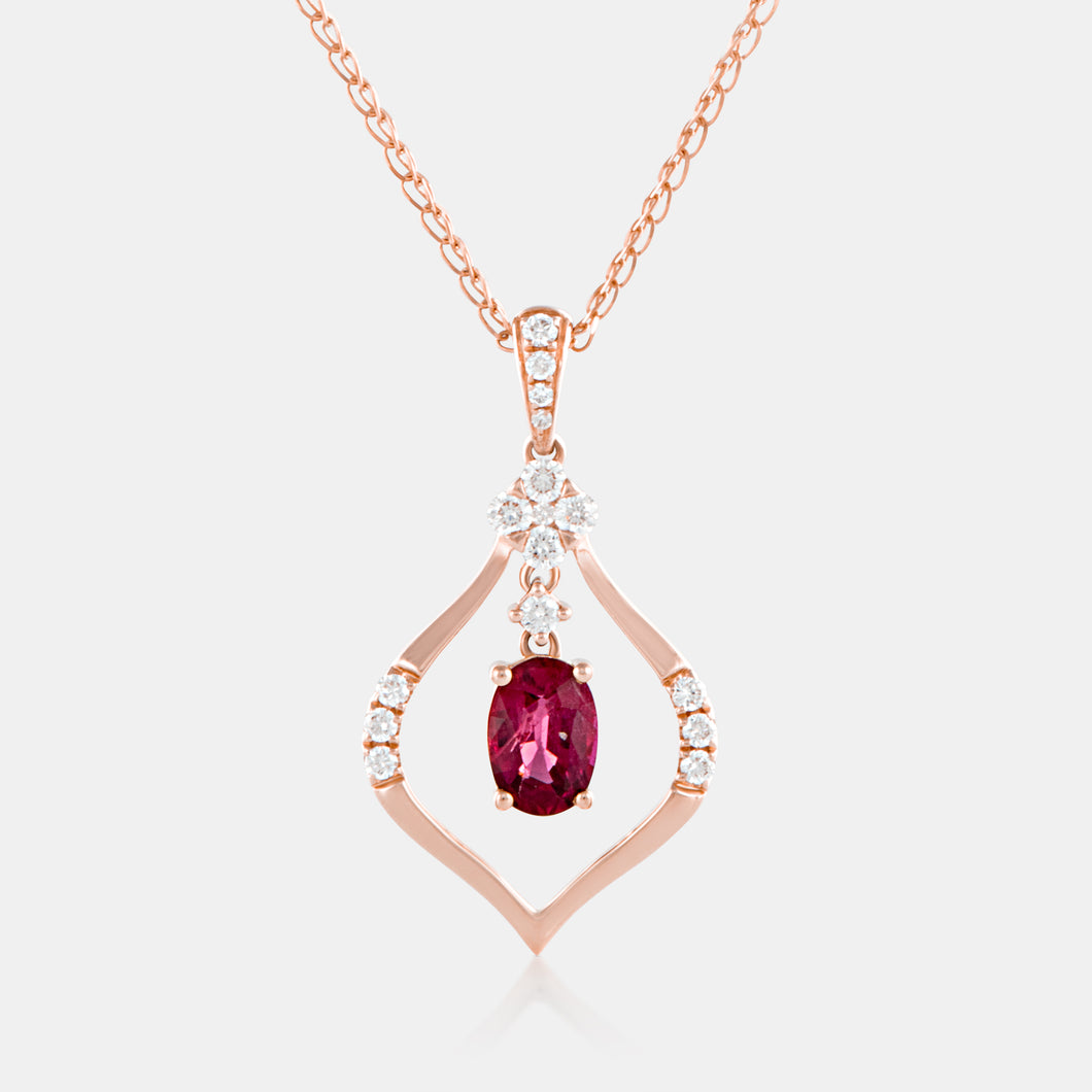0.78ct Chandelier Ruby Pendant with 18K Rose Gold and Diamonds