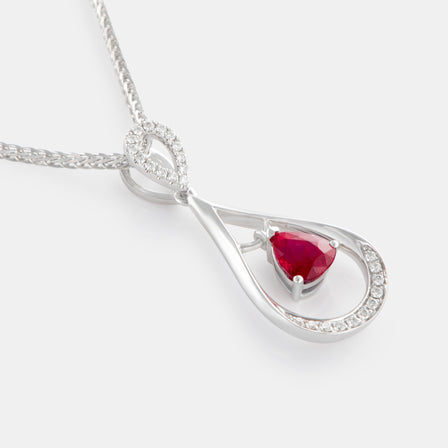 0.51ct Floating Teardrop Ruby Pendant with 18K White Gold and Diamonds