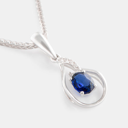 0.31ct Oval Sapphire Teardrop Pendant with 18K White Gold and Diamonds