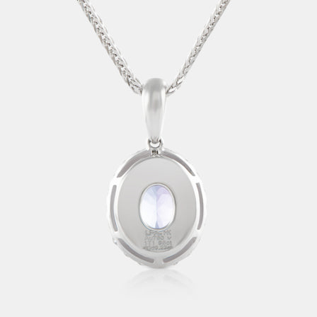 1.98 Oval Tanzanite Pendant with 18K White Gold and Diamond Halo