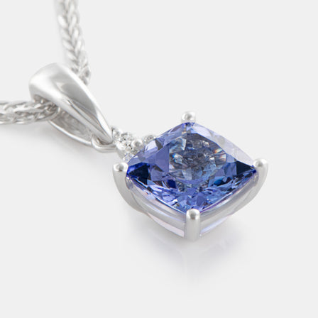 1.04ct Cushion Cut Tanzanite Pendant with 18K White Gold and Diamonds