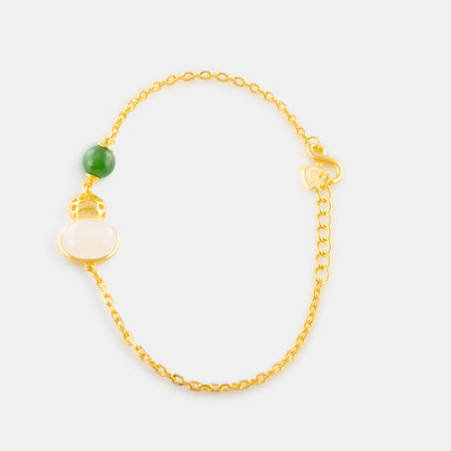 Nephrite Fancy Hulu Chain Bracelet with 24K Gold
