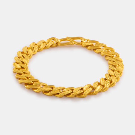 24K Gold Diagonal Link Bracelet (10MM)