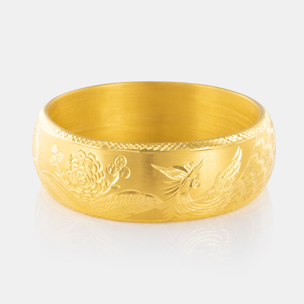 24K Gold Lotus and Phoenix Wedding Bangle 37.62g