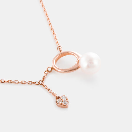 5-5.5MM Akoya Pearl Eternity Circle Necklace with 18K Rose Gold and Diamonds