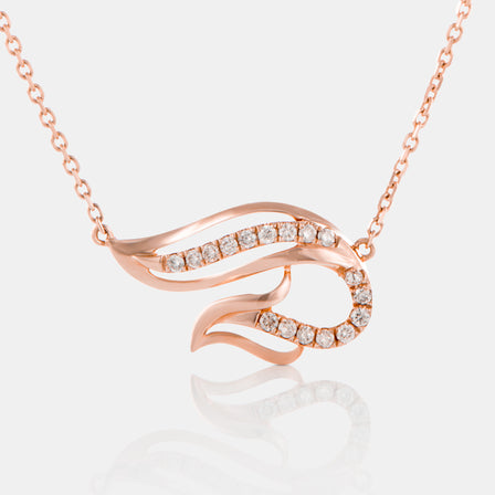 Diamond Phoenix Necklace with 18K Rose Gold