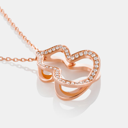 Large Diamond Hulu Necklace with 18K Rose Gold