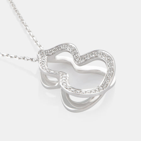 Large Diamond Hulu Necklace with 18K White Gold