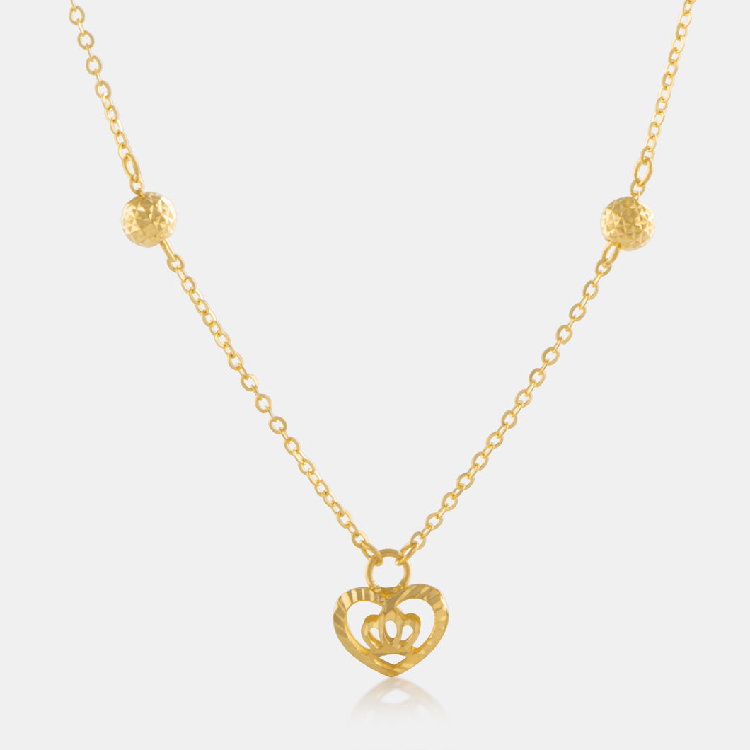 24K Gold Shimmering Mini Heart Charm Necklace