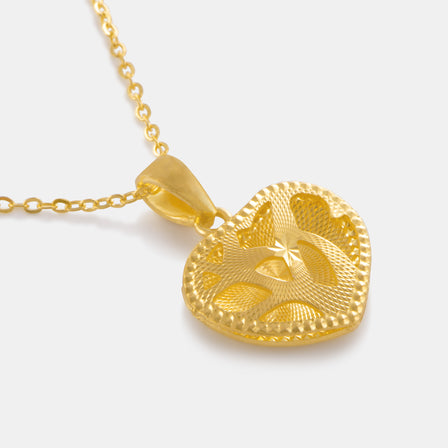 24K Gold Shimmering Heart Necklace