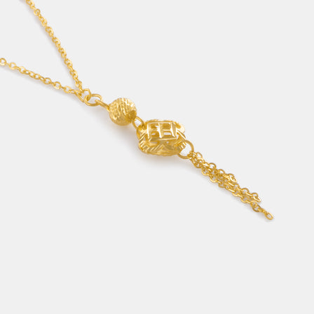 24K Gold Shimmering Clover Tassel Necklace