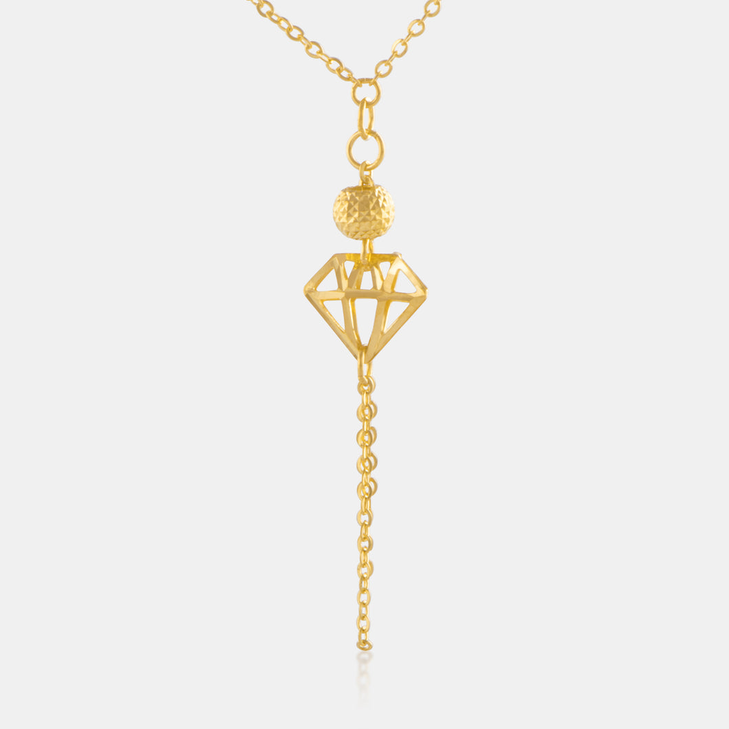 24K Gold Shimmering Diamond Cut Tassel Necklace