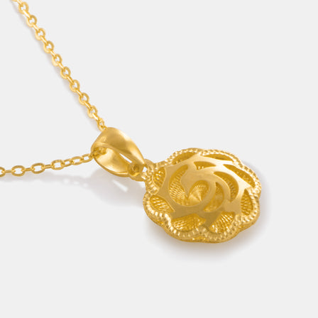 24K Gold Shimmering Phoenix Magnolia Necklace