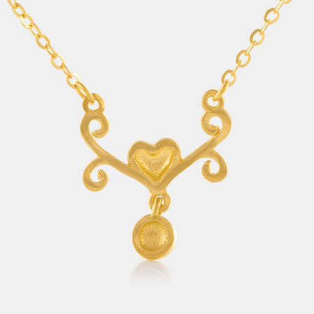 24K Gold Antique Heart Necklace