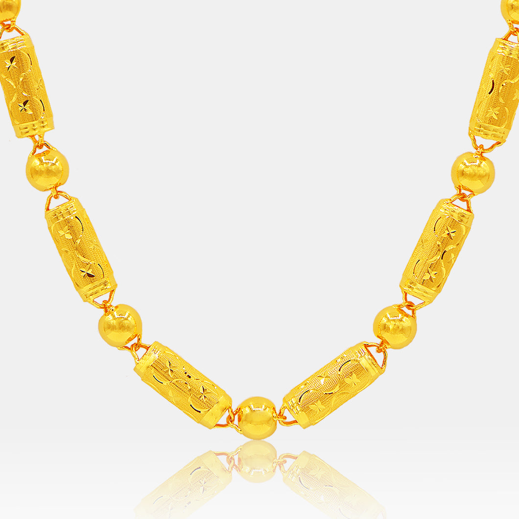 24K Gold 9MM Diamond and Bead Link Necklace