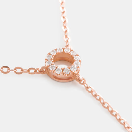 Diamond Eternity Circle Lariat Necklace with 18K Rose Gold