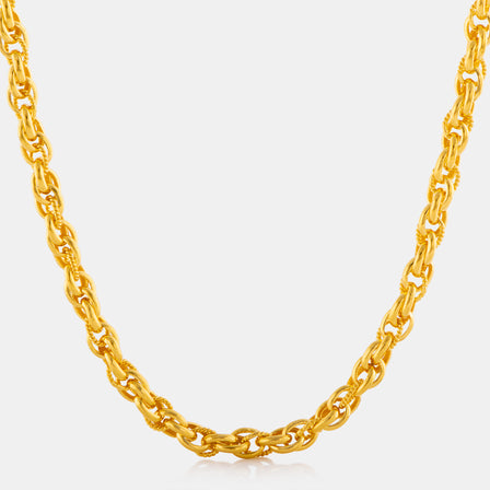 24K Gold Wide Wheat Link Necklace