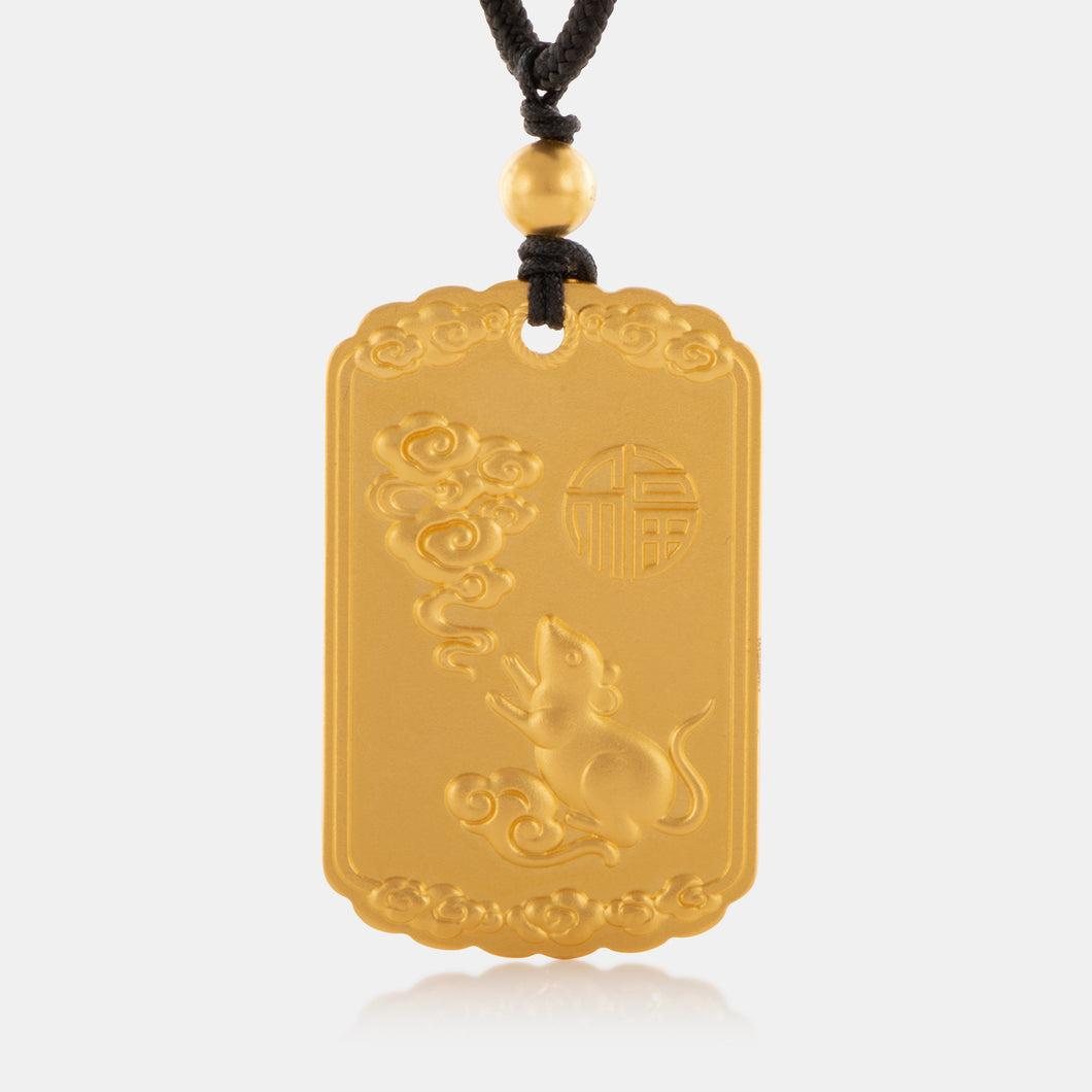 24K Antique Gold Zodiac Rat Tag Necklace