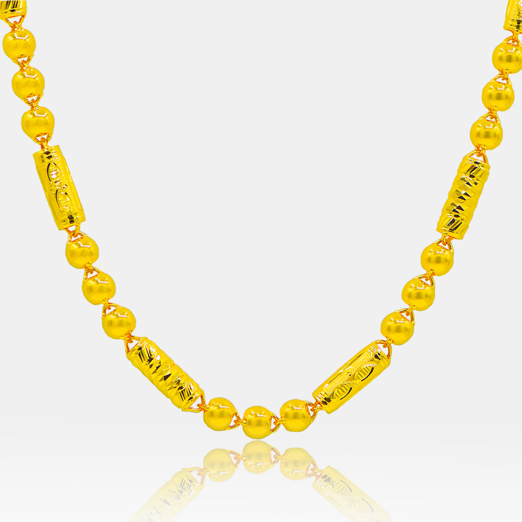 24K Gold 7MM Diamond and Bead Link Necklace