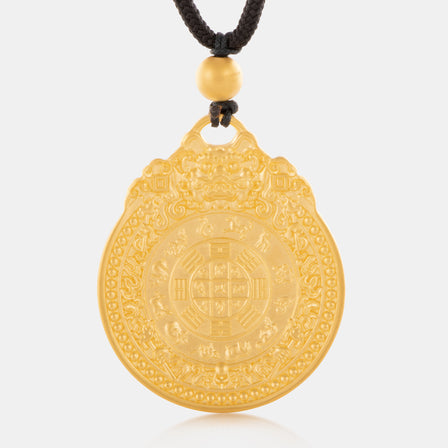 24K Antique Gold Round Zodiac Necklace