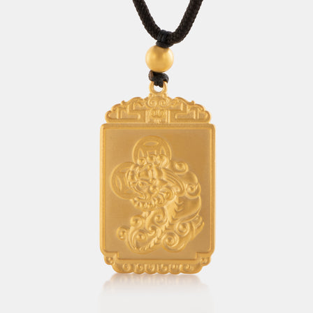 24K Antique Gold Pixiu Tag Necklace