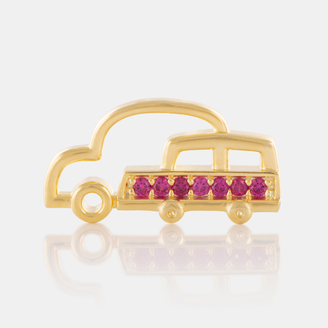 Crystal Car Brooch with Yellow Gold Plating