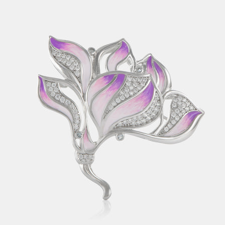 Enamel Camellia Brooch with Sterling Silver
