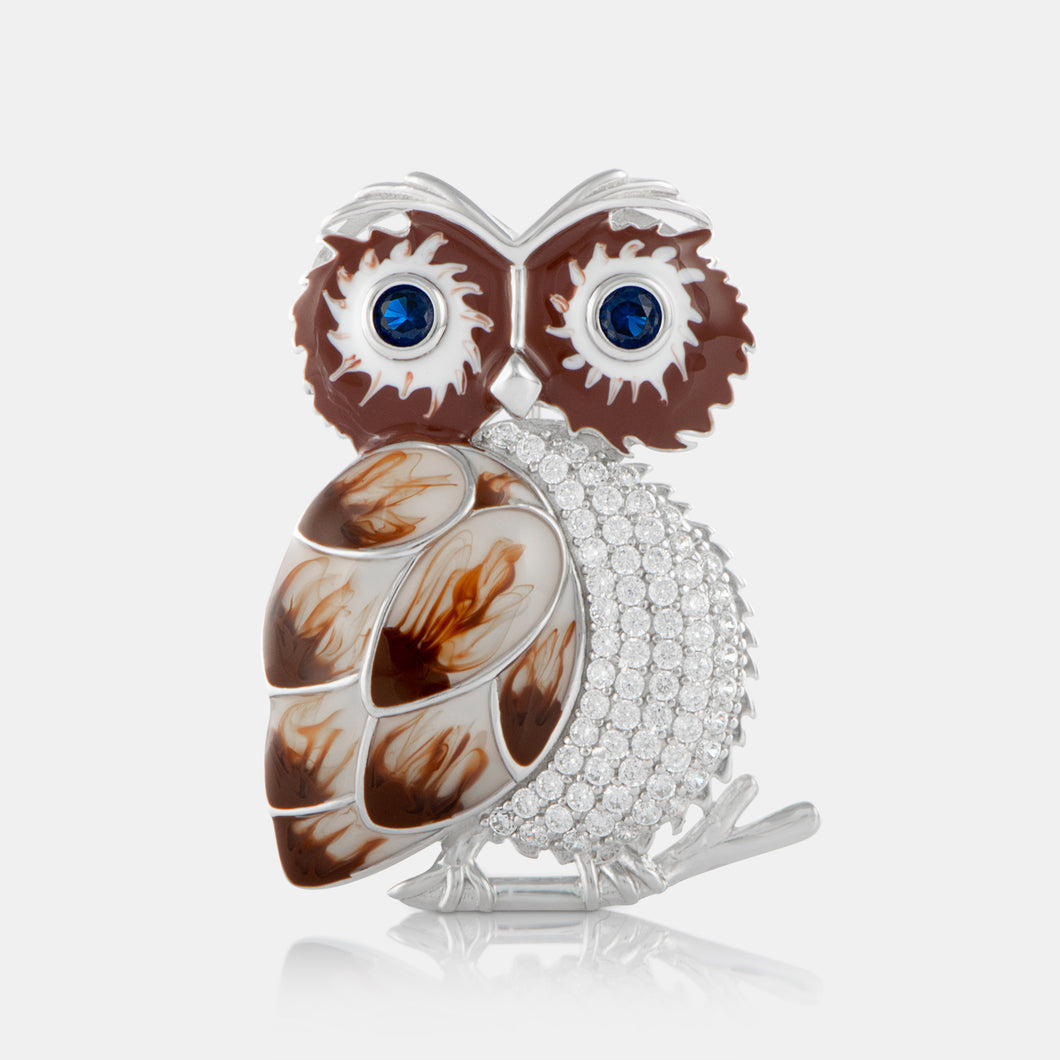 Enamel Owl Brooch with Sterling Silver